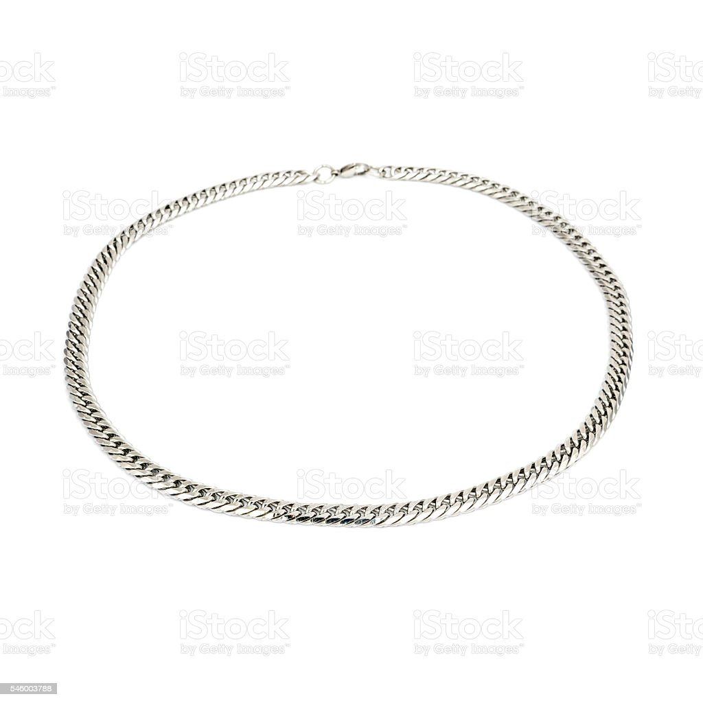 Silver male pendant isolated on white stock photo