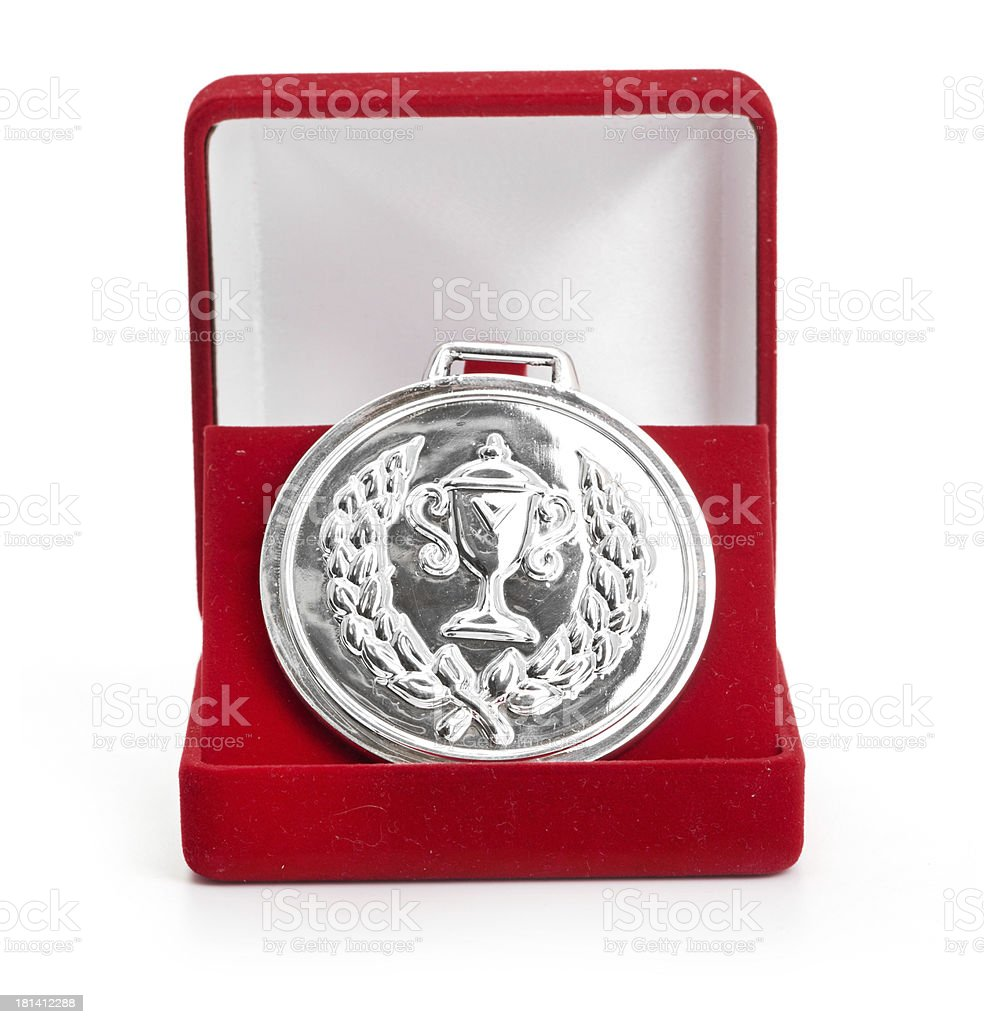 silver medal in red gift box. royalty-free stock photo