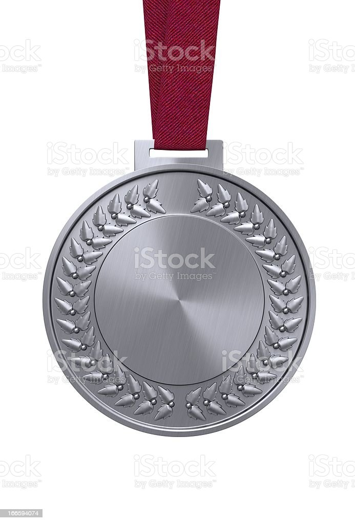 Silver medal on a red ribbon stock photo