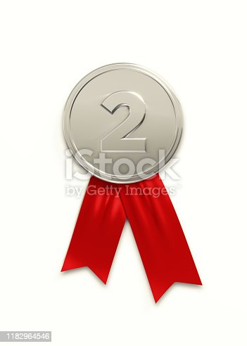 Silver medal on white background, Number two writes on silver medal. Vertical composition with clipping path. Great use for Best of 2020 concepts.