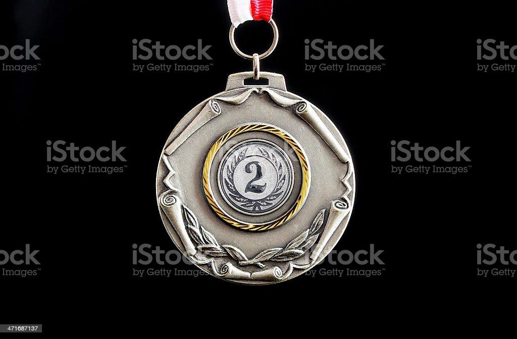 Silver medal winner stock photo