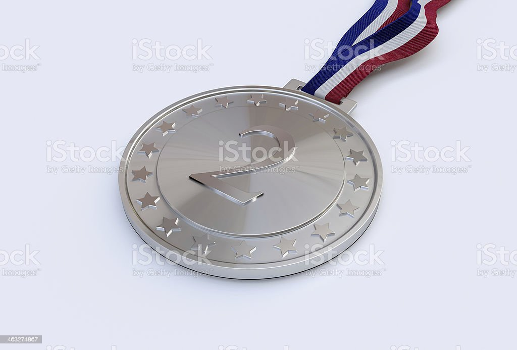 Silver medal with number royalty-free stock photo