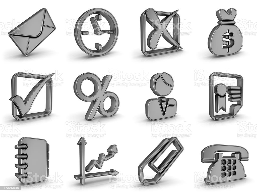 silver metal business icons stock photo