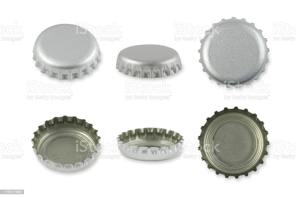 Silver Metal caps stock photo