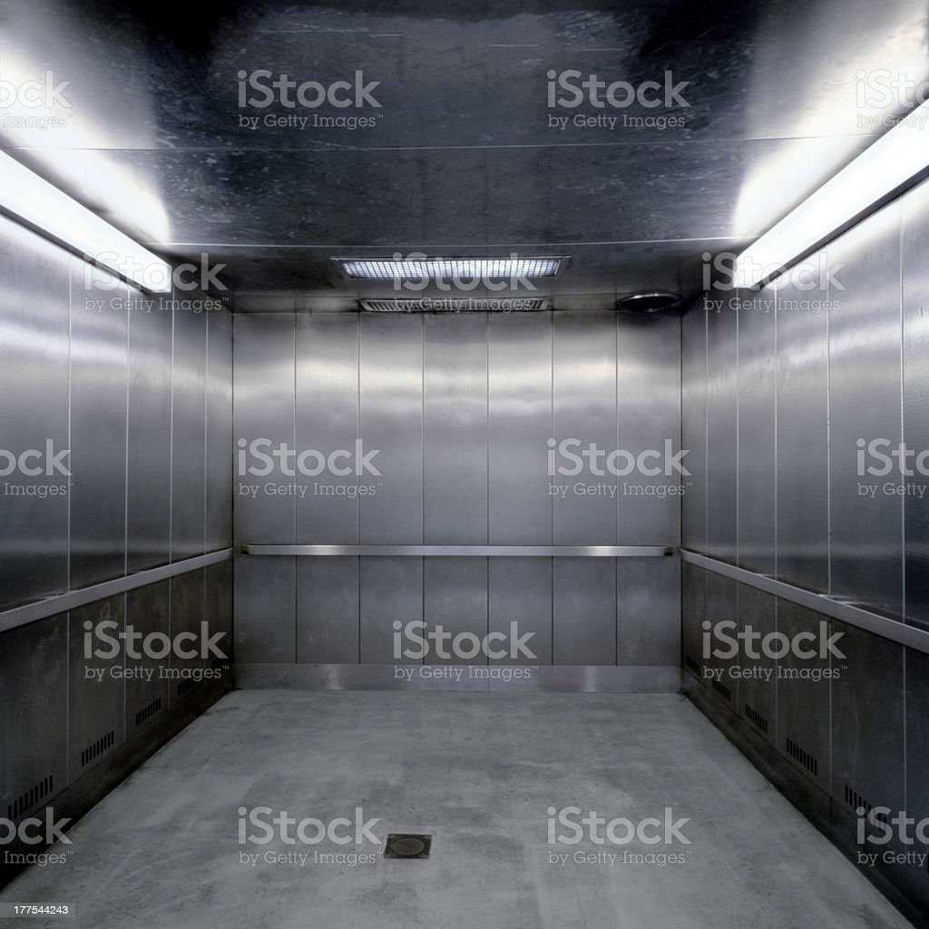 Silver Metal Elevator, New York City stock photo