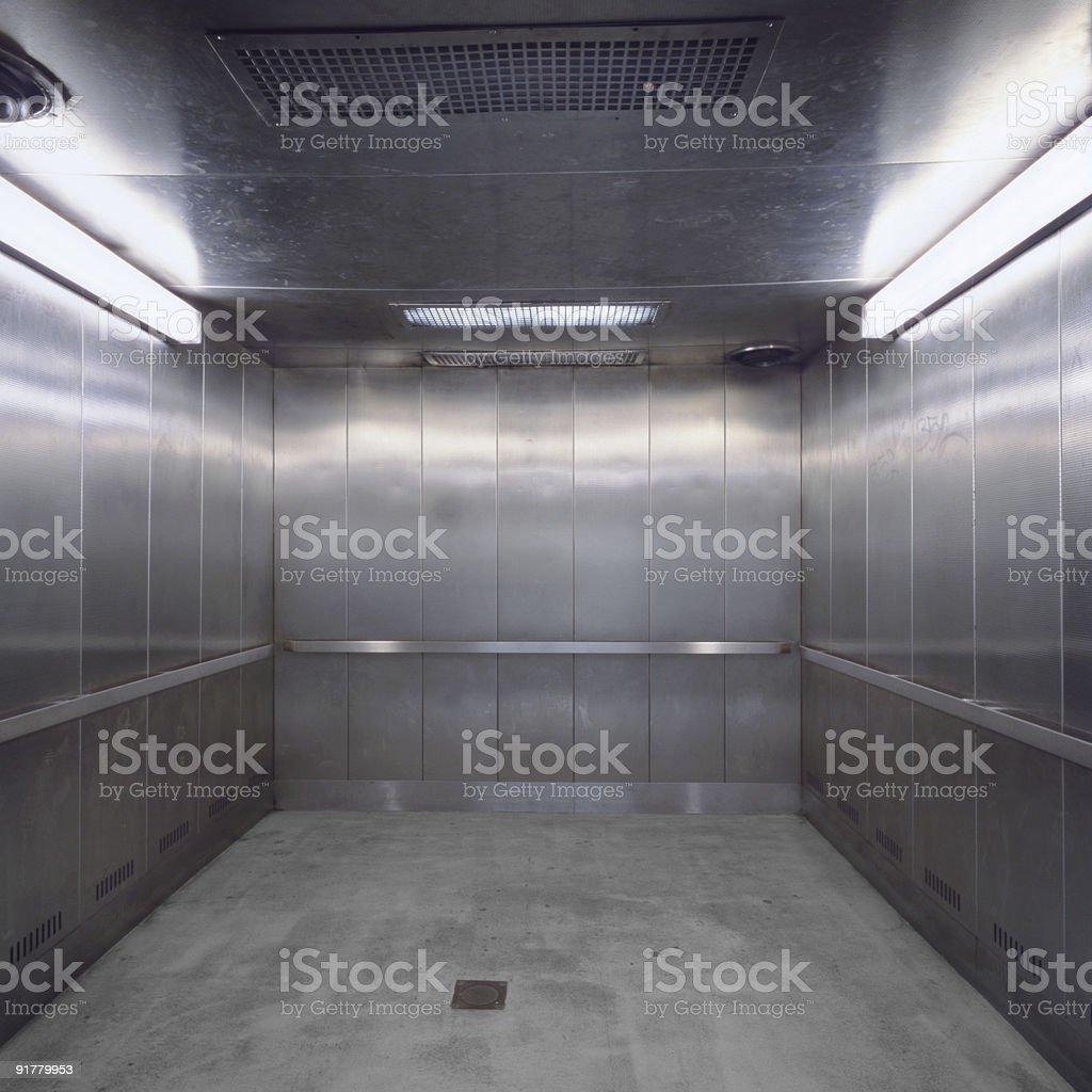 Silver Metal Elevator, New York City royalty-free stock photo