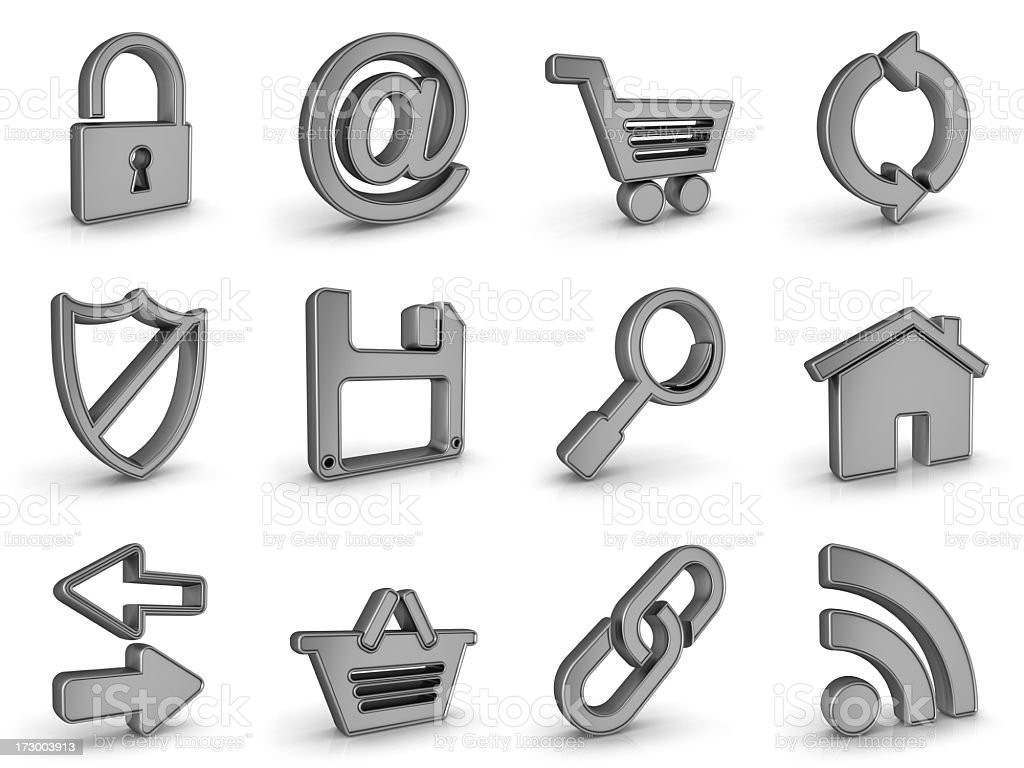 silver metal internet icons royalty-free stock photo