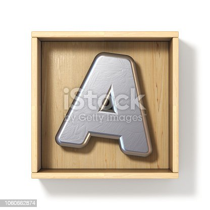 184953872 istock photo Silver metal letter A in wooden box 3D 1060662874