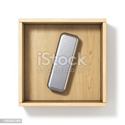 583978326 istock photo Silver metal letter I in wooden box 3D 1060662990