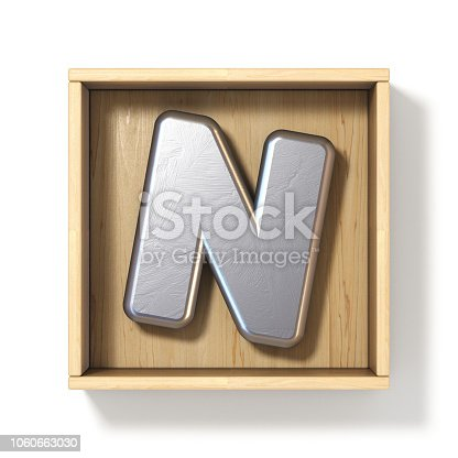 istock Silver metal letter N in wooden box 3D 1060663030
