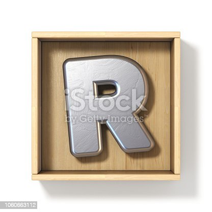 583978558istockphoto Silver metal letter R in wooden box 3D 1060663112