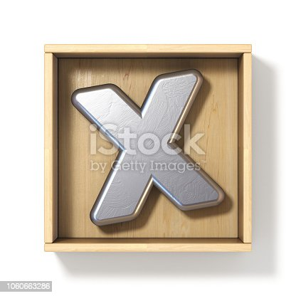 istock Silver metal letter X in wooden box 3D 1060663286