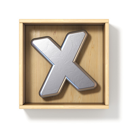 848178088 istock photo Silver metal letter X in wooden box 3D 1060663286