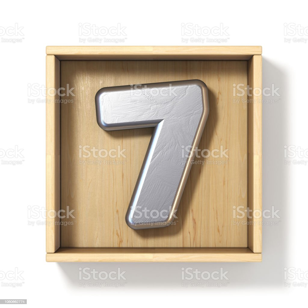Silver metal number 7 SEVEN in wooden box 3D stock photo