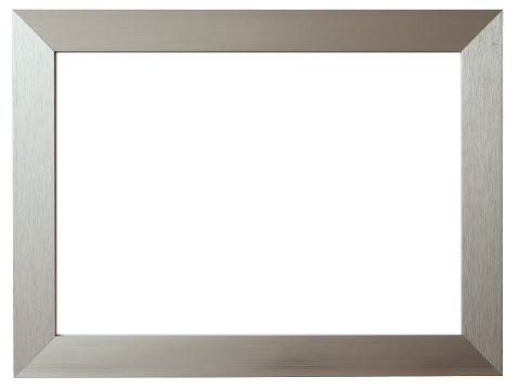 istock Silver metal picture frame against white background 173916764