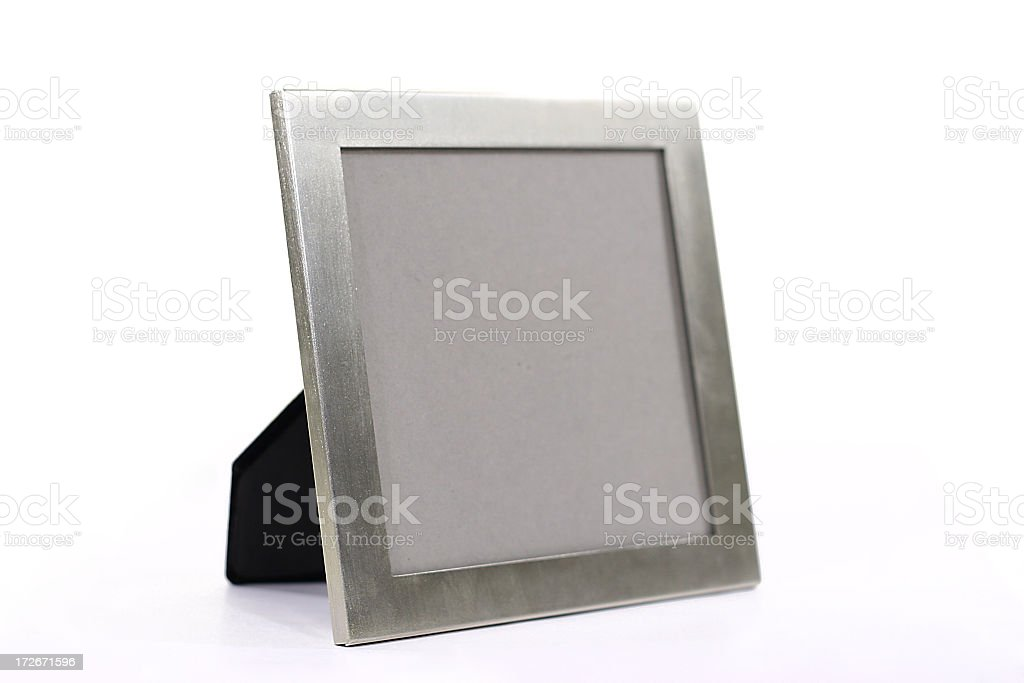 Silver metal picture frame holding no picture no background royalty-free stock photo