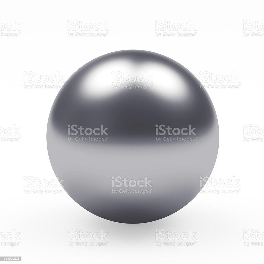 Silver metal sphere on white stock photo