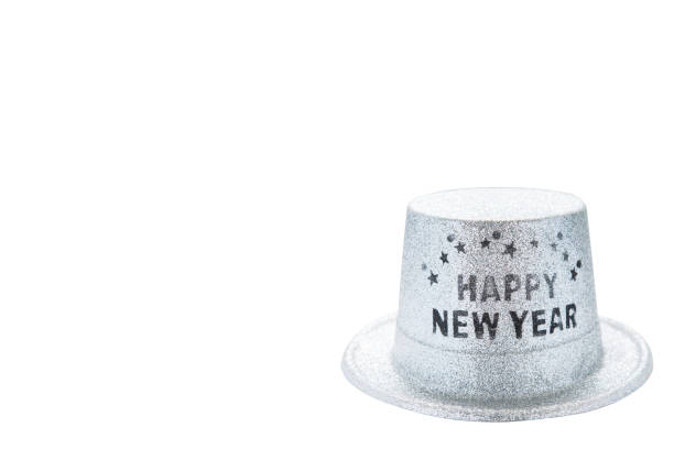 Silver metallic happy new year party hat isolated on white background, clipping path. copy space of your text stock photo