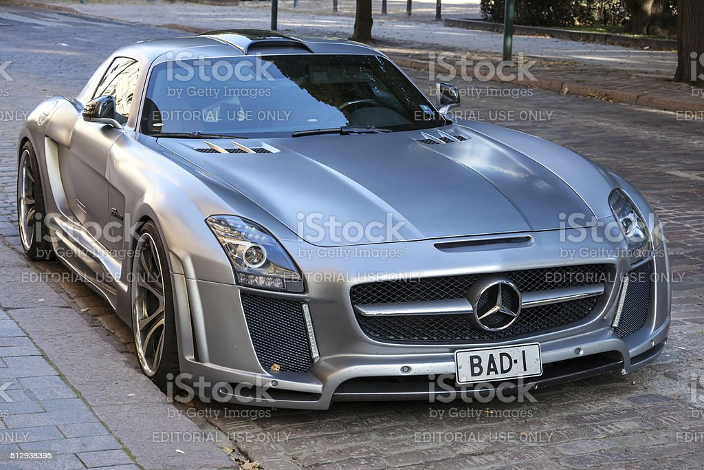 Silver metallic Mercedes-Benz SLS stock photo