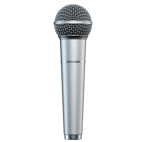 Silver microphone, isolated on white background, 3D render, vertical view. stock photo