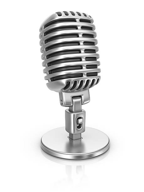 silver microphone stock photo