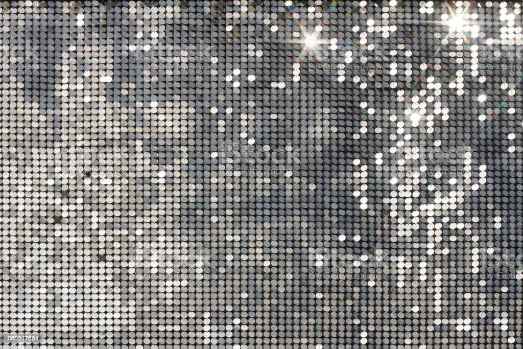 Silver mosaic with light spots and stars stock photo