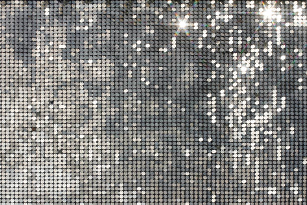 silver mosaic with light spots and stars - nightclub stock photos and pictures