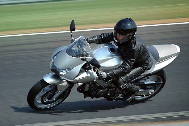 silver motorcycle - motorbike racing stock photos and pictures