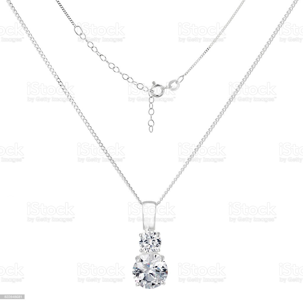 Silver necklace and pendant on white background stock photo