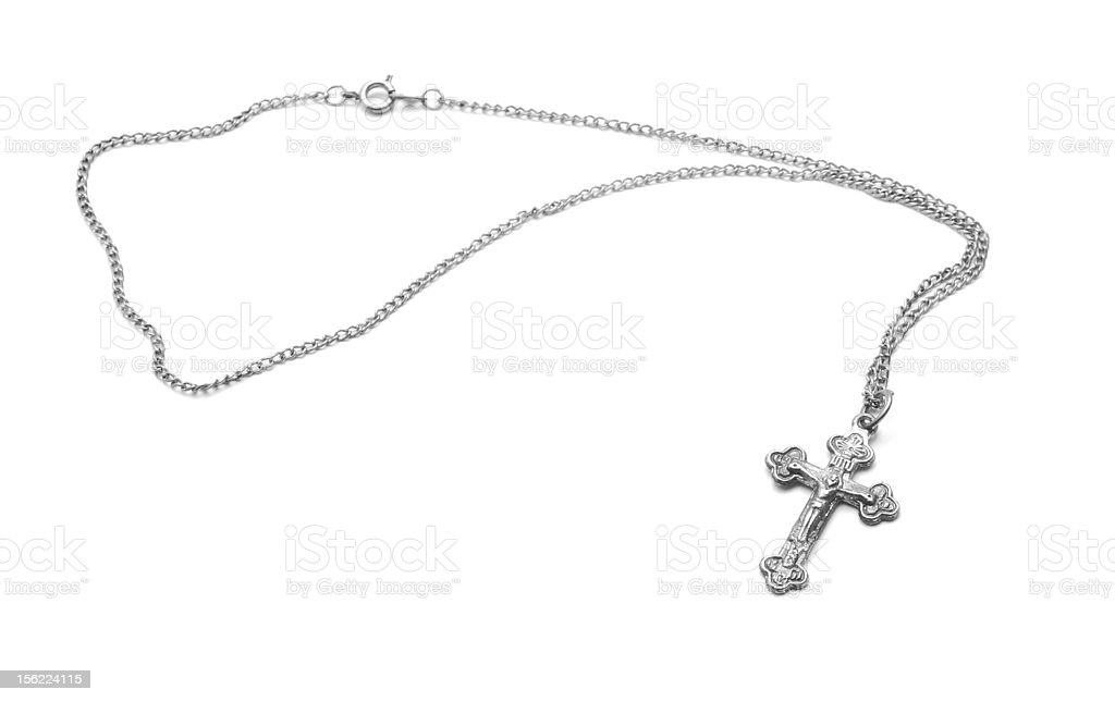 silver necklace stock photo
