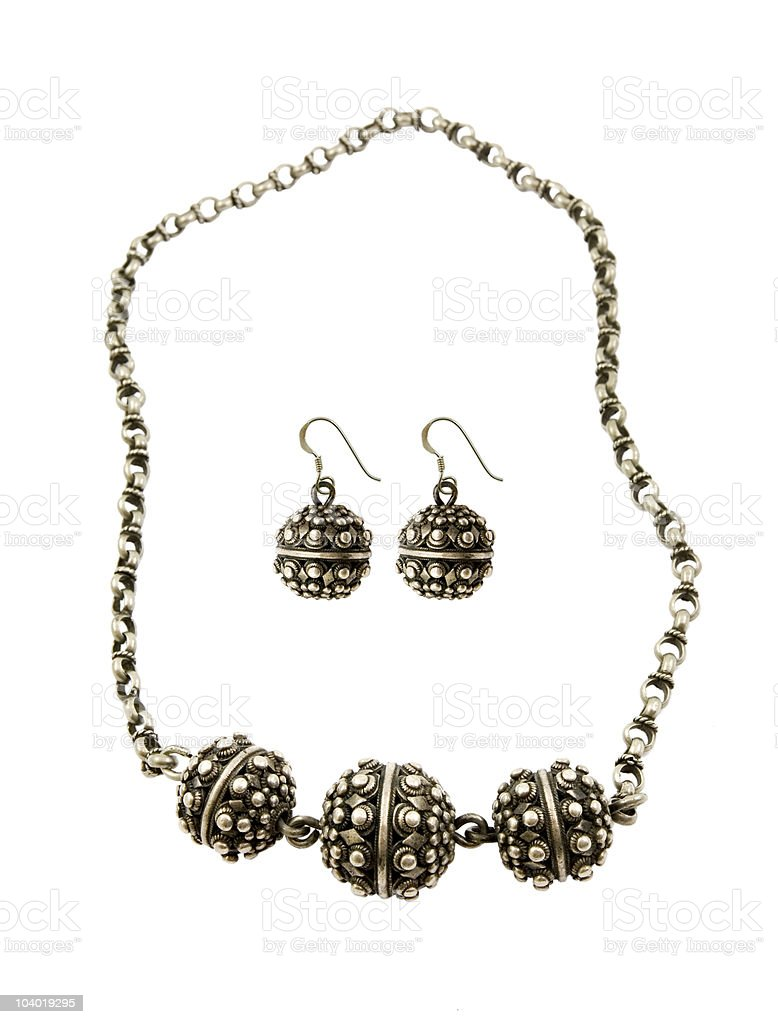Silver Necklaces and earings royalty-free stock photo