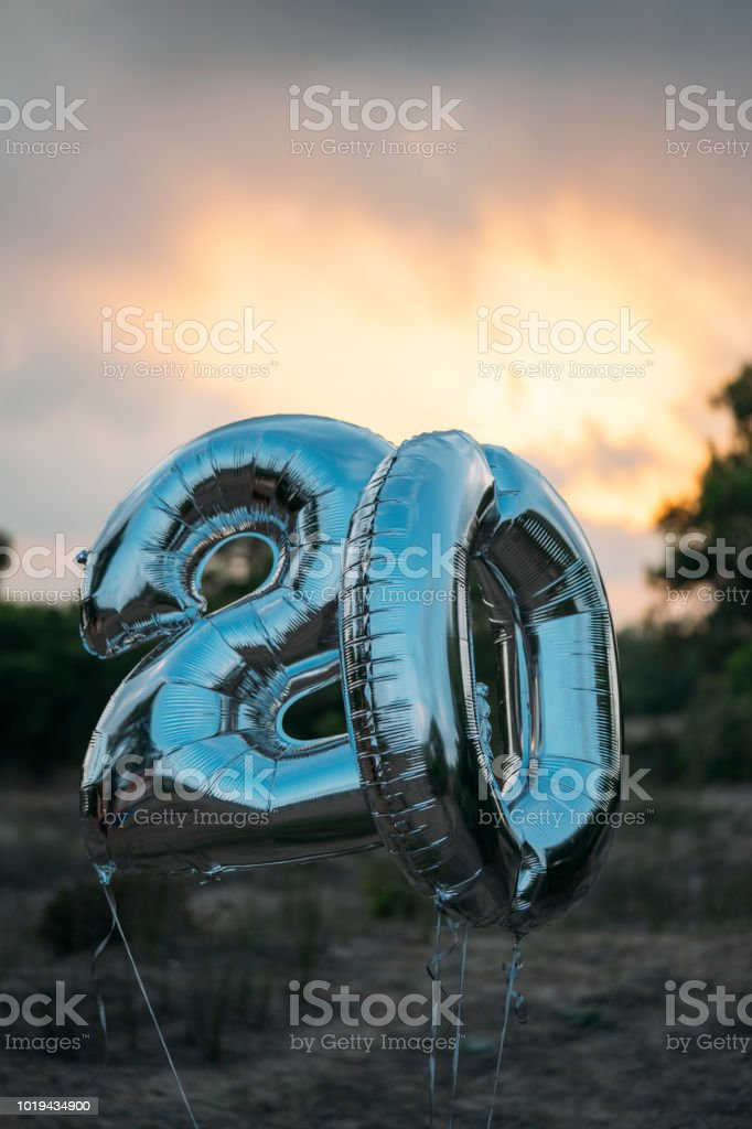 Silver Number 20 Balloon Stock Photo