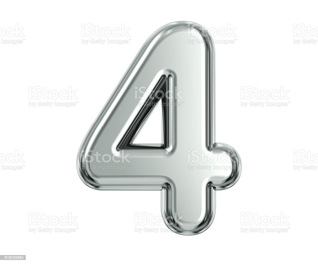 Silver Number 4 stock photo