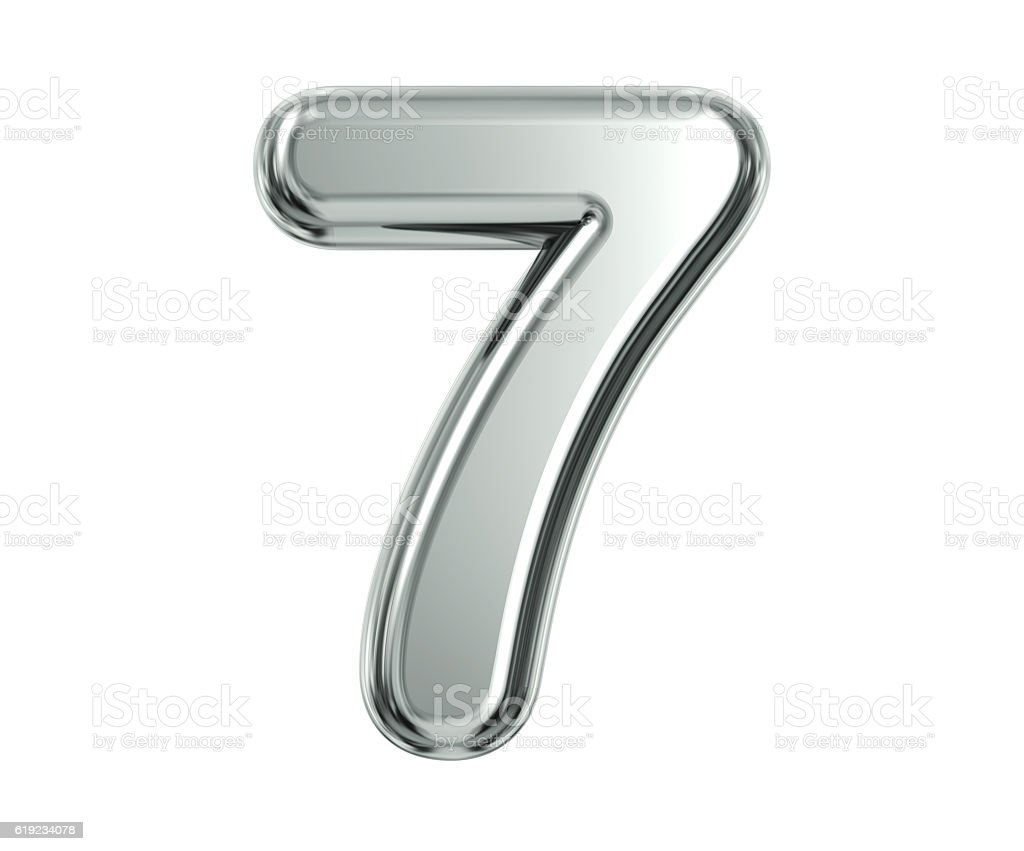 Silver Number 7 stock photo