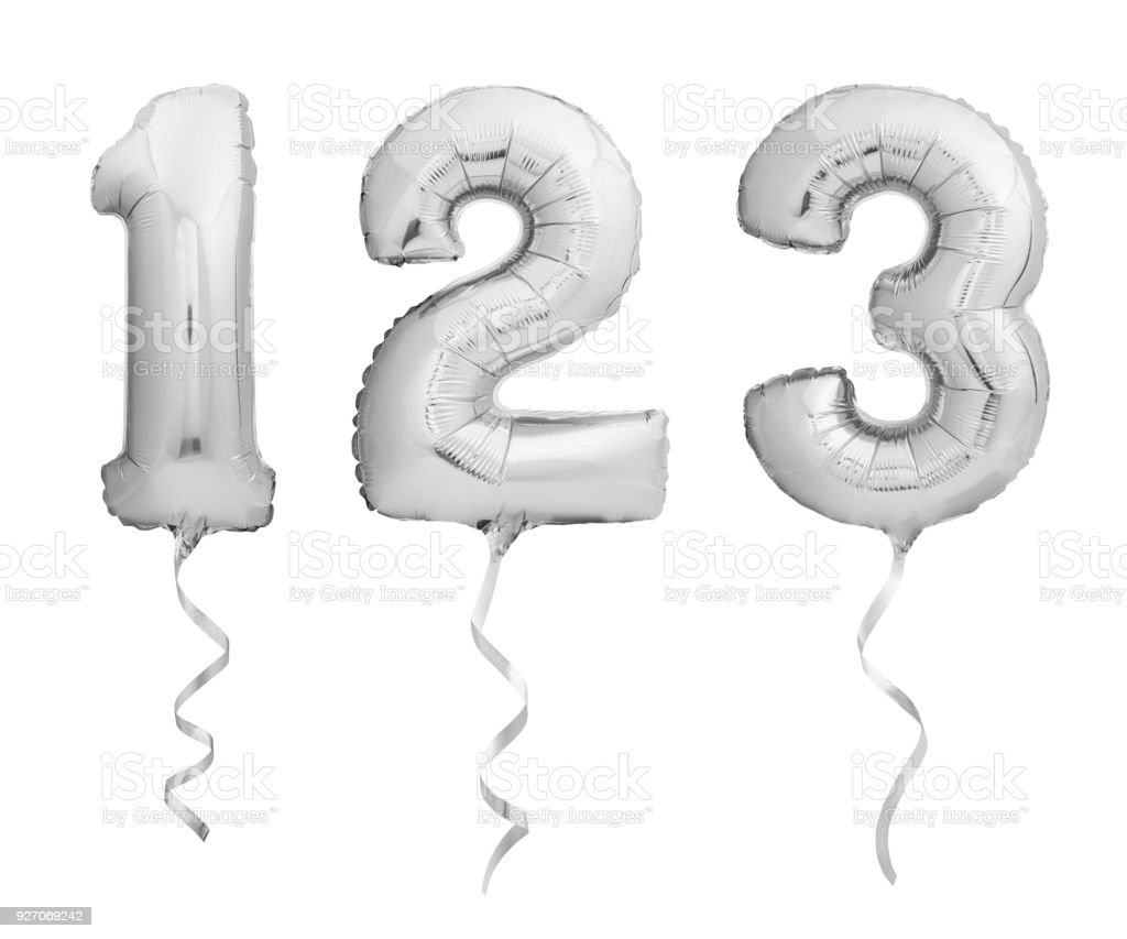 Silver numbers 1, 2, 3 made of inflatable balloons with ribbons isolated on white stock photo