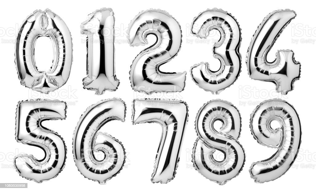Silver numbers balloons stock photo