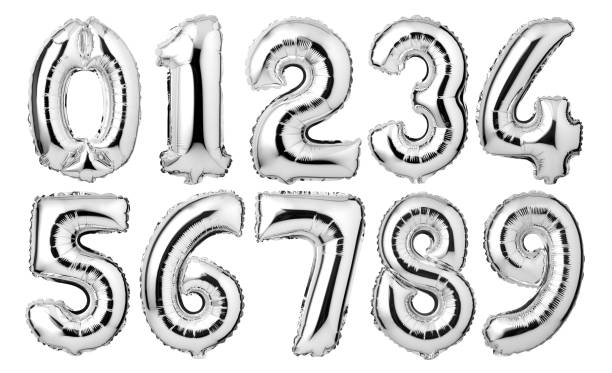Silver numbers balloons Silver numbers balloons isolated on white background number stock pictures, royalty-free photos & images