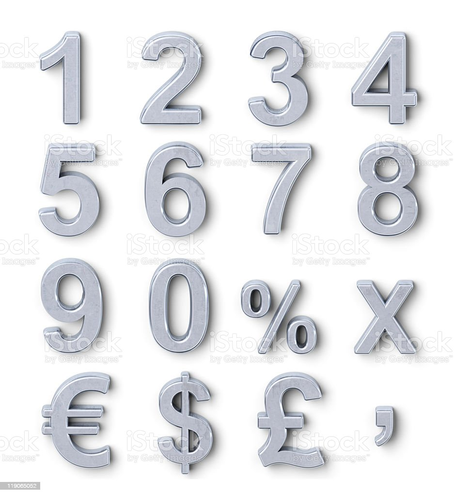 Silver numbers stock photo