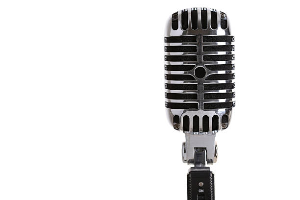 silver old fashioned stage microphone closeup - elvis stock photos and pictures