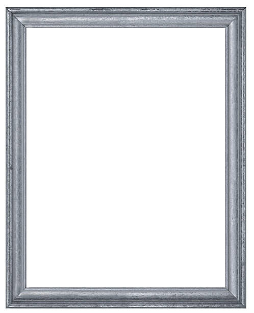 Silver or Pewter Rectangular Picture Frame.  Isolated w/Clipping Path stock photo