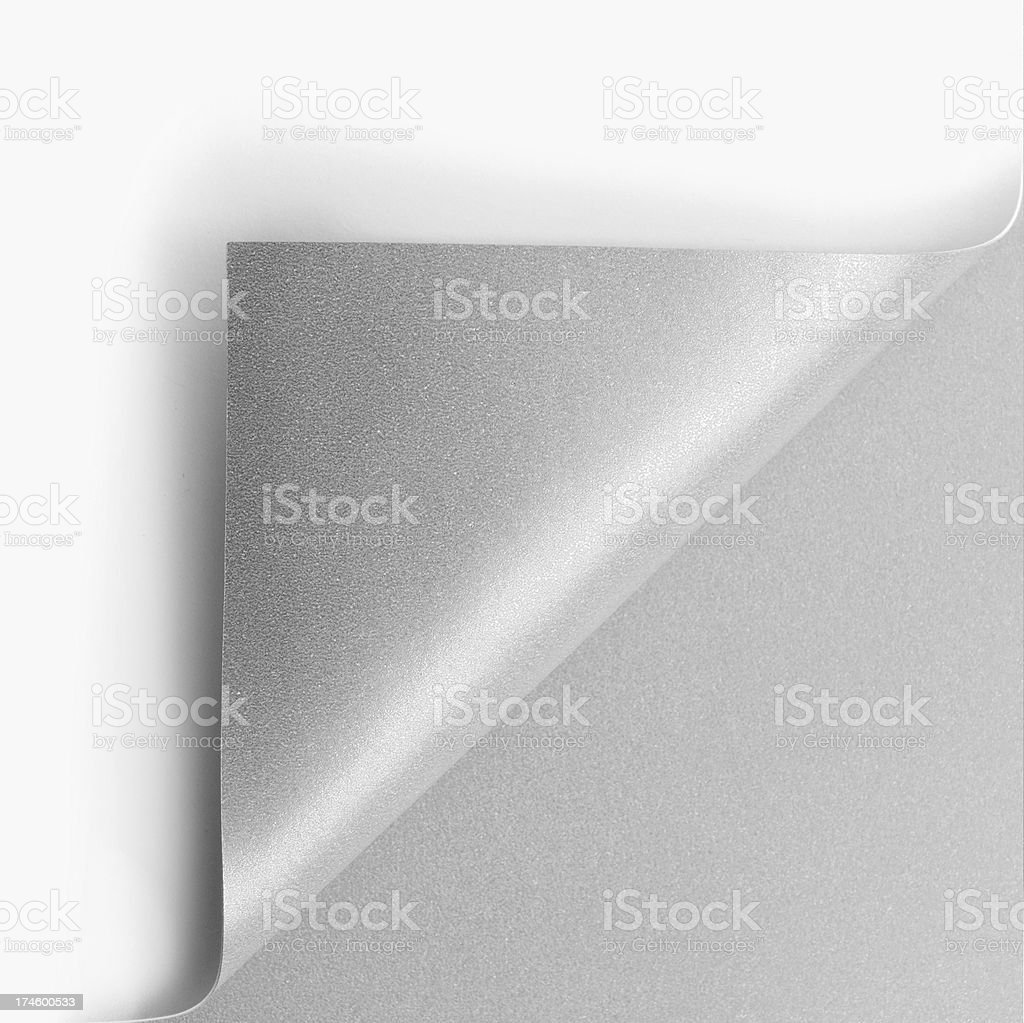 Silver page corner curl stock photo