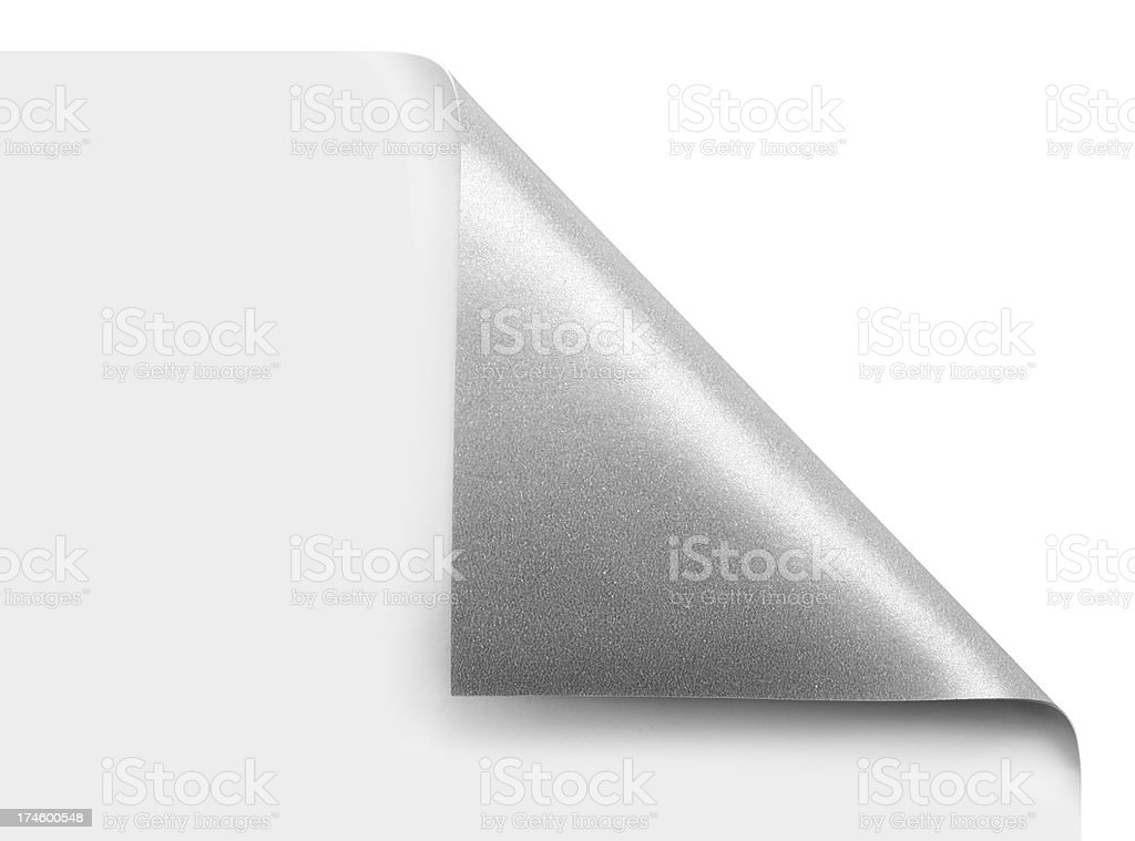 Silver page corner curled over stock photo