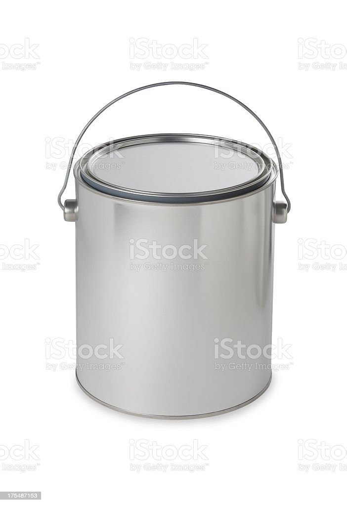 Silver paint bucket. Add your own message or brand stock photo