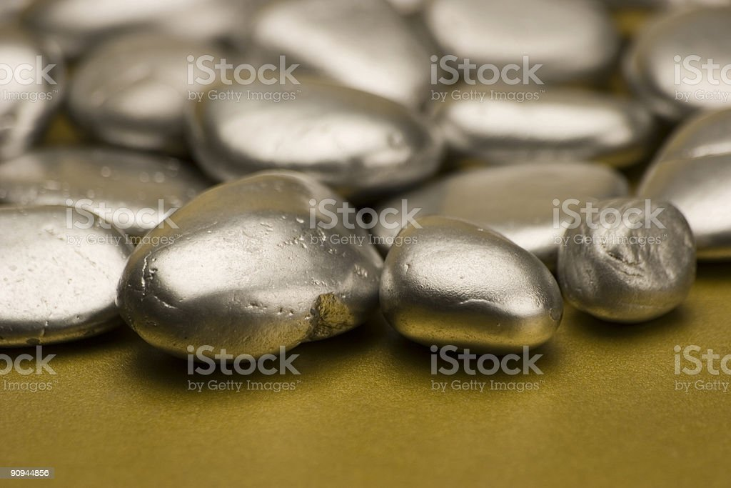 Silver painted stones royalty-free stock photo