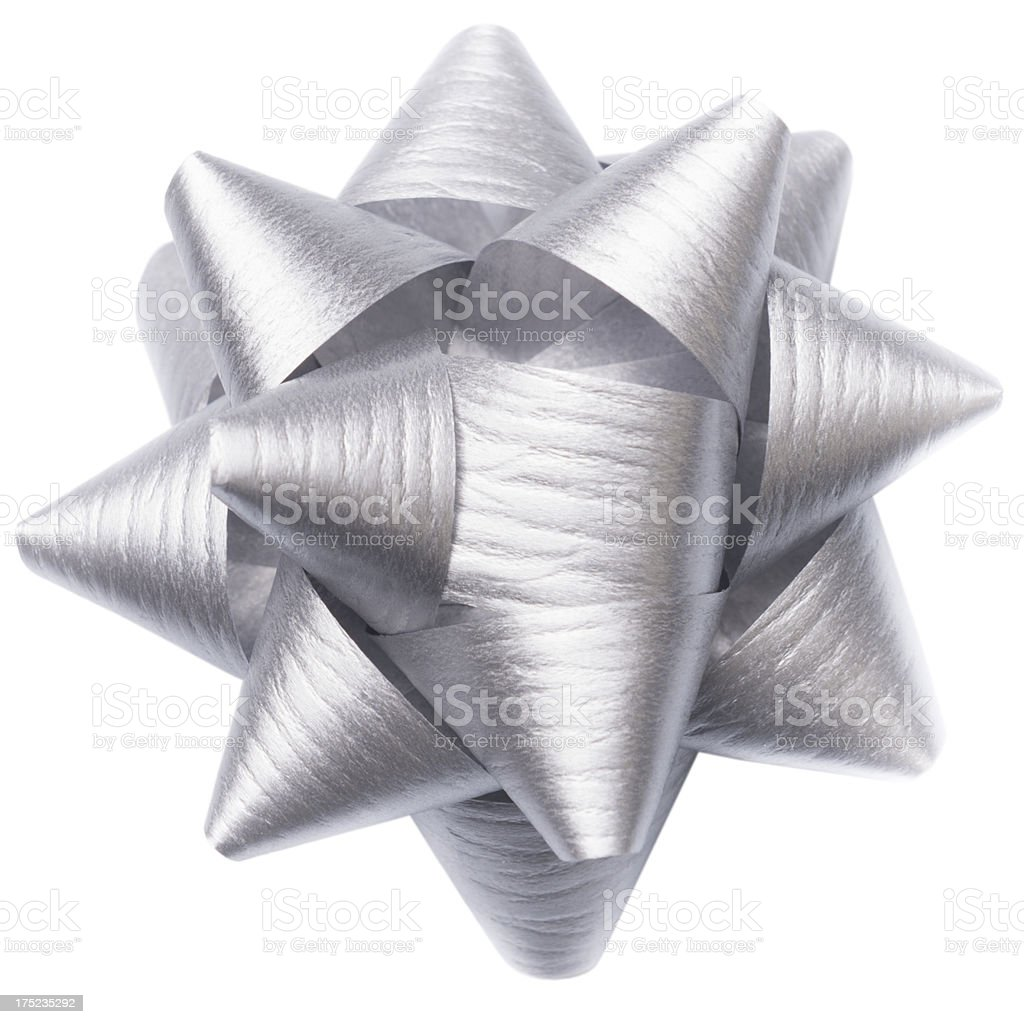 Silver paper bow royalty-free stock photo