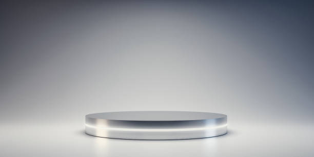 Silver Pedestal of platform display with neon modern stand podium on white room background. Blank Exhibition stage backdrop or empty product shelf. 3D rendering. stock photo