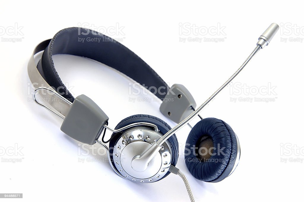 Silver Phone and microphone stock photo