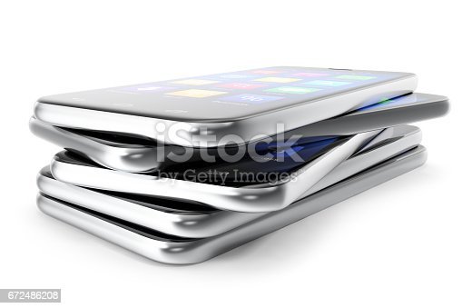 istock A silver phone width a blue screen and icons, isolated on white background, 3d illustration 672486208