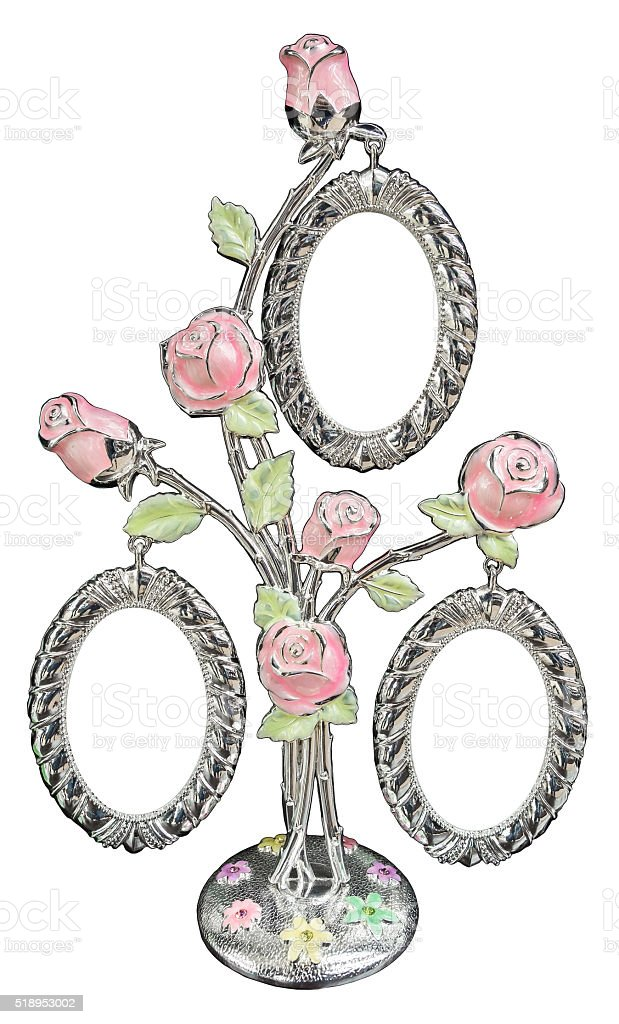 Silver photo frame as bouquet of rose stock photo