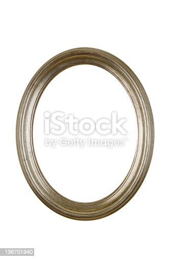 Silver oval round circle picture frame in antique pewter finish, design element white isolated.